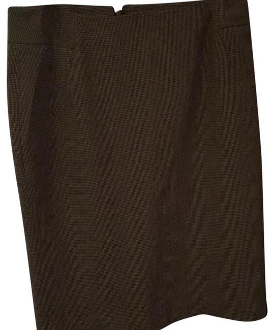 Rafaella Skirt Tan with a small darker brown houndstooth pattern