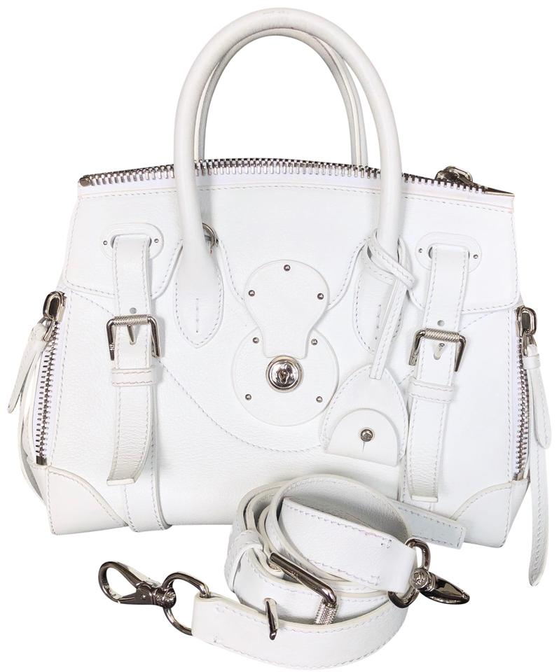 fb9e8c8d94 Ralph Lauren Collection Soft Ricky Zip 27 White Calfskin Leather Satchel  68% off retail