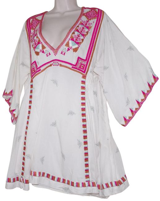 Preload https://img-static.tradesy.com/item/24166062/free-people-ivory-print-rayon-v-neck-34-sleeve-embroidered-tunic-size-12-l-0-2-650-650.jpg