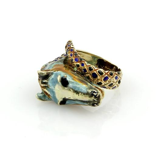 Other Equestrian Enamel Horse Head Bypass 14k Gold Ring
