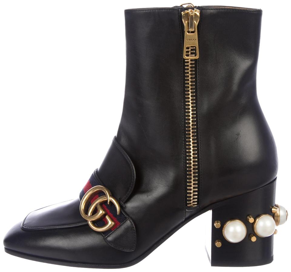 42727be3463 Gucci Black with Gold Trim and Pearl Embellish 2018 Peyton Boots ...