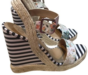 Nicole Miller Bridal Floral with blue stripes. Wedges