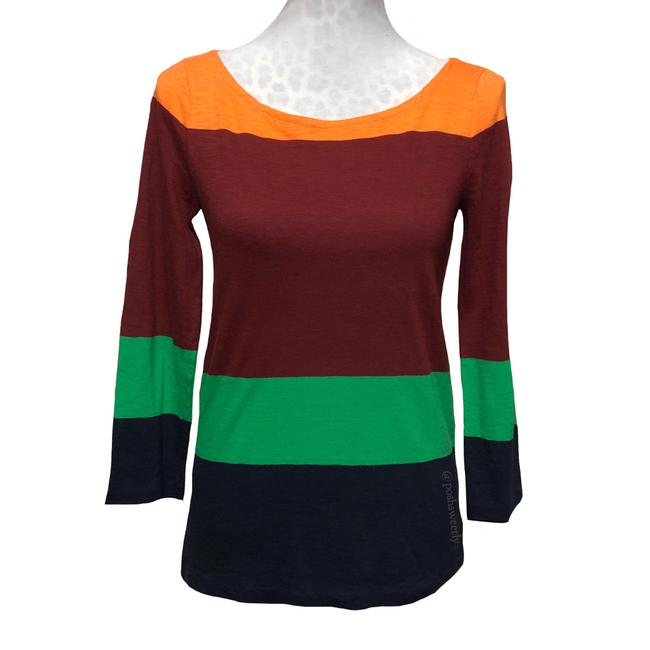 Item - Orange Burgundy Green Navy Colorblock Fall Knit Blouse Size 2 (XS)