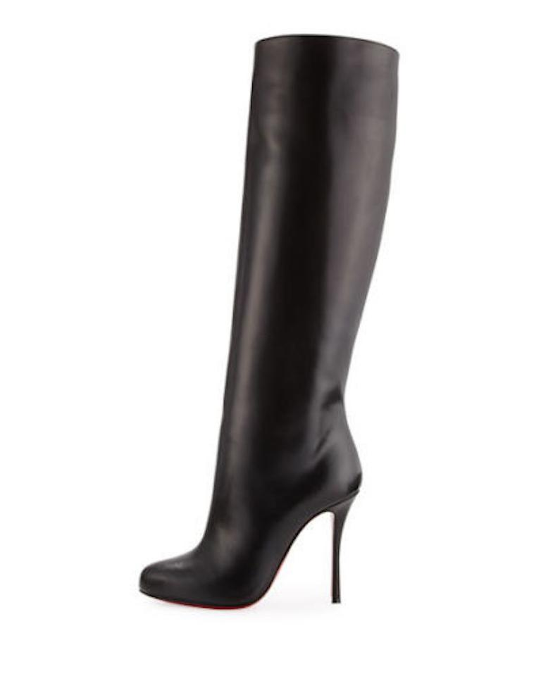 1452aaac8ee Christian Louboutin Black Vitish 100 Calf Leather Knee High Tall Pull On  Stiletto Heel Boots/Booties Size EU 35 (Approx. US 5) Regular (M, B)