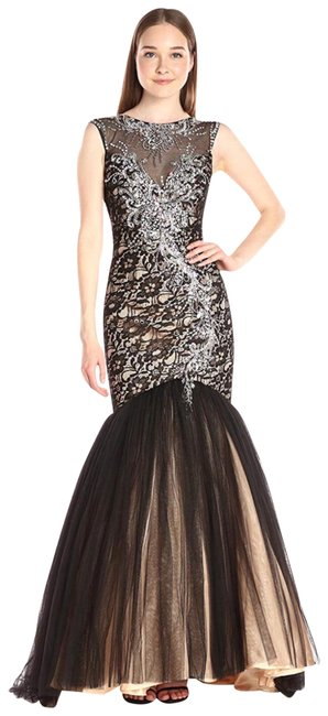 Item - Black/Nude Women's Tulle Mermaid with Beaded Bodice Illusuin Neck Long Formal Dress Size 0 (XS)