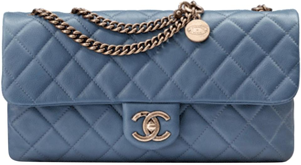 912bdca6432d Chanel Cc Crown Flap Classic Quilted Medium Small 13c Charm Logo Blue  Calfskin Leather Shoulder Bag