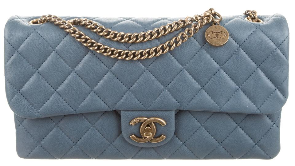 e3dfa6441a3b Chanel Cc Crown Flap Classic Quilted Medium Small 13c Charm Logo Blue  Calfskin Leather Shoulder Bag - Tradesy