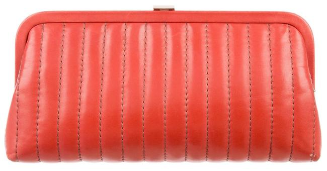 Item - Mademoiselle Timeless Ligne Vertical Quilt Classic Kisslock Cc Frame Red Lambskin Leather Clutch