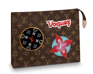 Louis Vuitton Classic Leather Monogram Patches brown Clutch