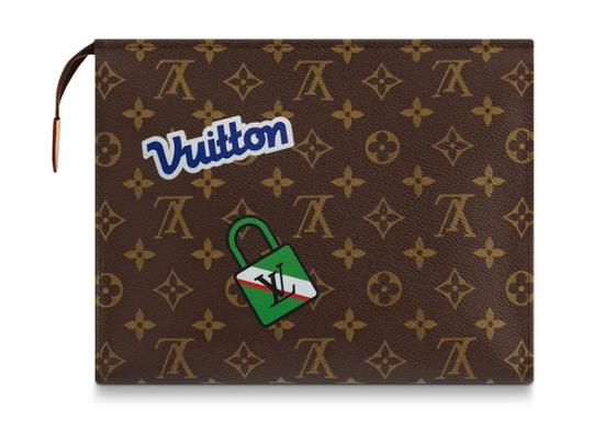 Louis Vuitton Classic Leather Monogram Patches brown Clutch Image 4