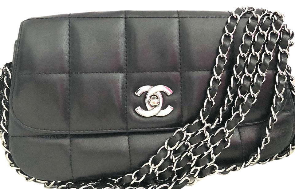 1055d59ab05a3a Chanel Classic Flap Vintage Black Multichain Square Quilted Lambskin ...