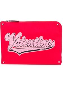 Valentino Classic Leather Monogram Patches red Clutch