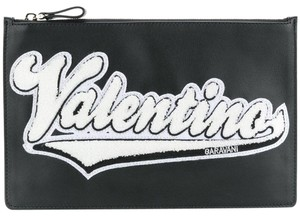 Valentino Classic Leather Monogram Patches black Clutch