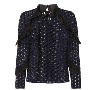 368f099be475 self-portrait Navy Black Lace Star Ruffle Blouse Size 6 (S) - Tradesy