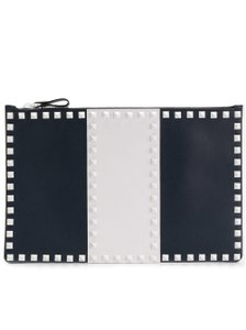 Valentino Classic Leather Monogram Patches blue Clutch