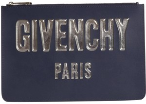 Givenchy Classic Leather Monogram Patches blue Clutch