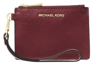 Michael Kors Coin Purse Leather 32t8gf6p1t Wristlet in Oxblood