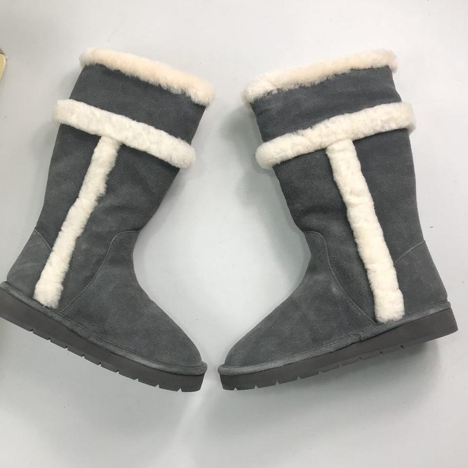e2f16bab80a88 MICHAEL Michael Kors Leather Sheep Fur Gray Boots Image 11. 123456789101112
