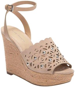 Marc Fisher Suede Studded Cut-out Ankle Strap Tan Wedges
