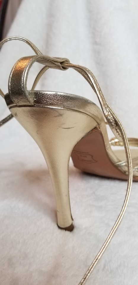 2b63f2b4832 Stuart Weitzman Studded Stiletto Strappy Metallic Gold Sandals Image 11.  123456789101112