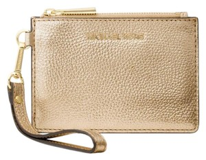 Michael Kors Coin Purse Leather 32t7mm9p1m Wristlet in Pale Gold