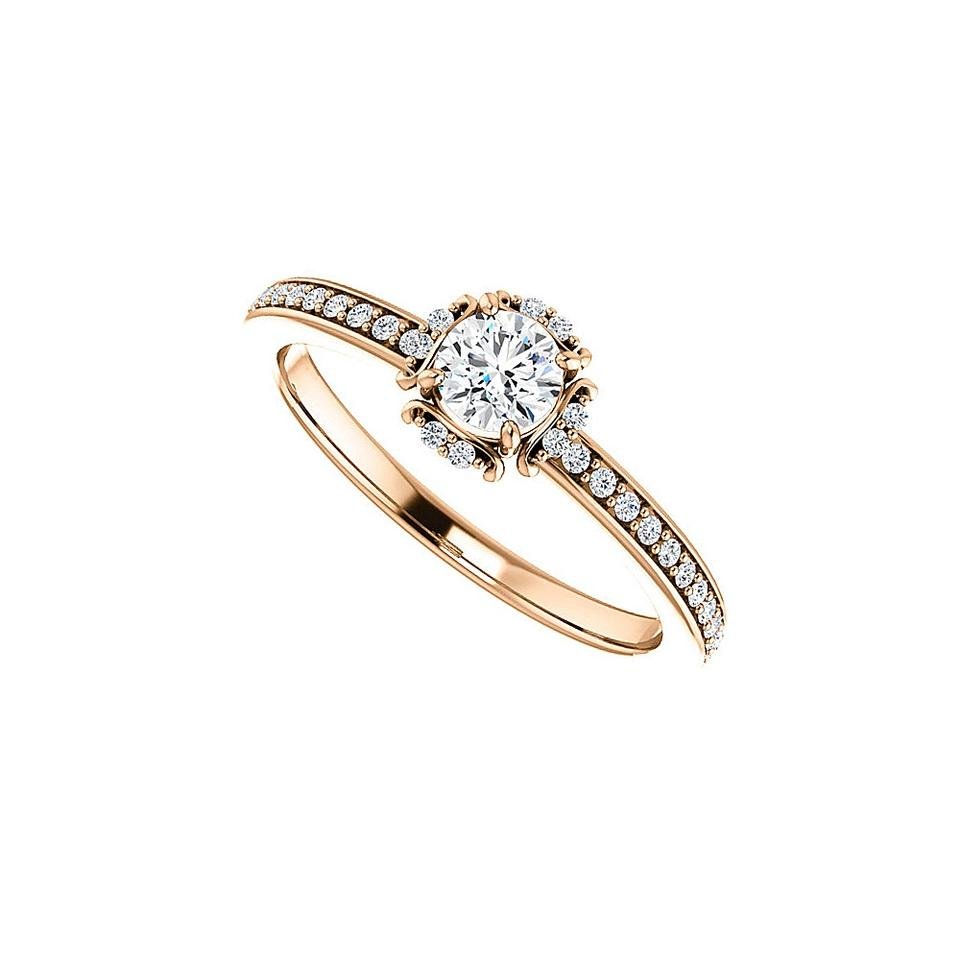 White Cz Unique Style In 14k Rose Gold At Cool Price Ring Tradesy