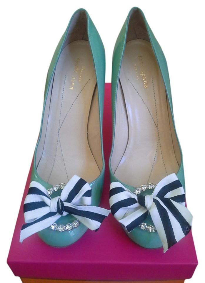 796262036 Kate Spade Aqua W Patent Leather Karolina Rhinestones & Grosgrain Bow Pumps
