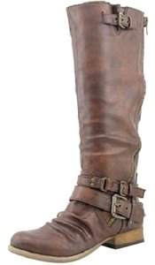 Carlos by Carlos Santana Distressed Slouch Ankle Straps Side Zip Closure Rounded Toe Cognac Boots