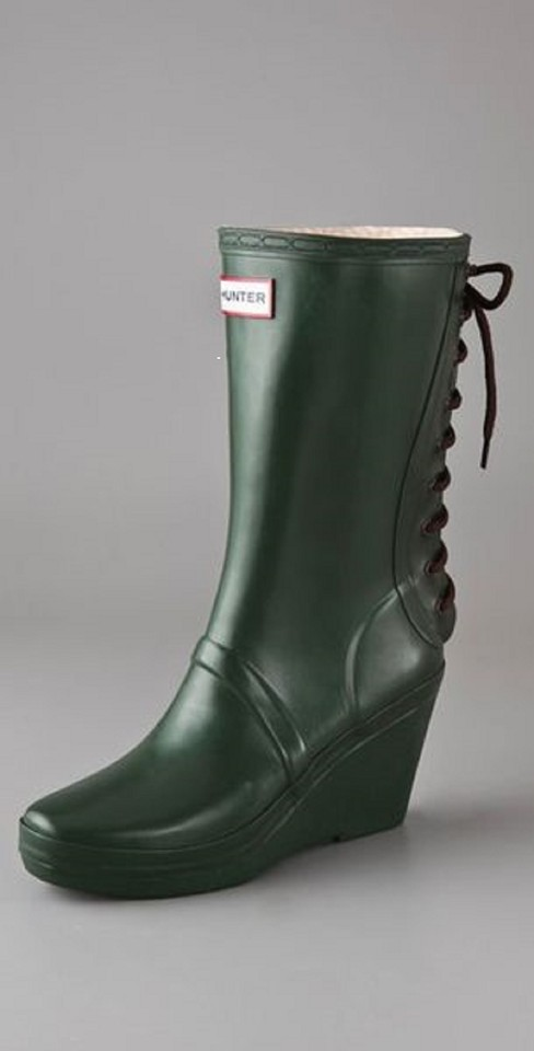 2f92f4e3a Hunter Green Verbier Rubber Lace-up Rain Boots/Booties Size US 9 ...