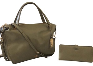 Coach Wallet Set Madison Purse Smythe Purse Satchel in Greyish-Olive Green