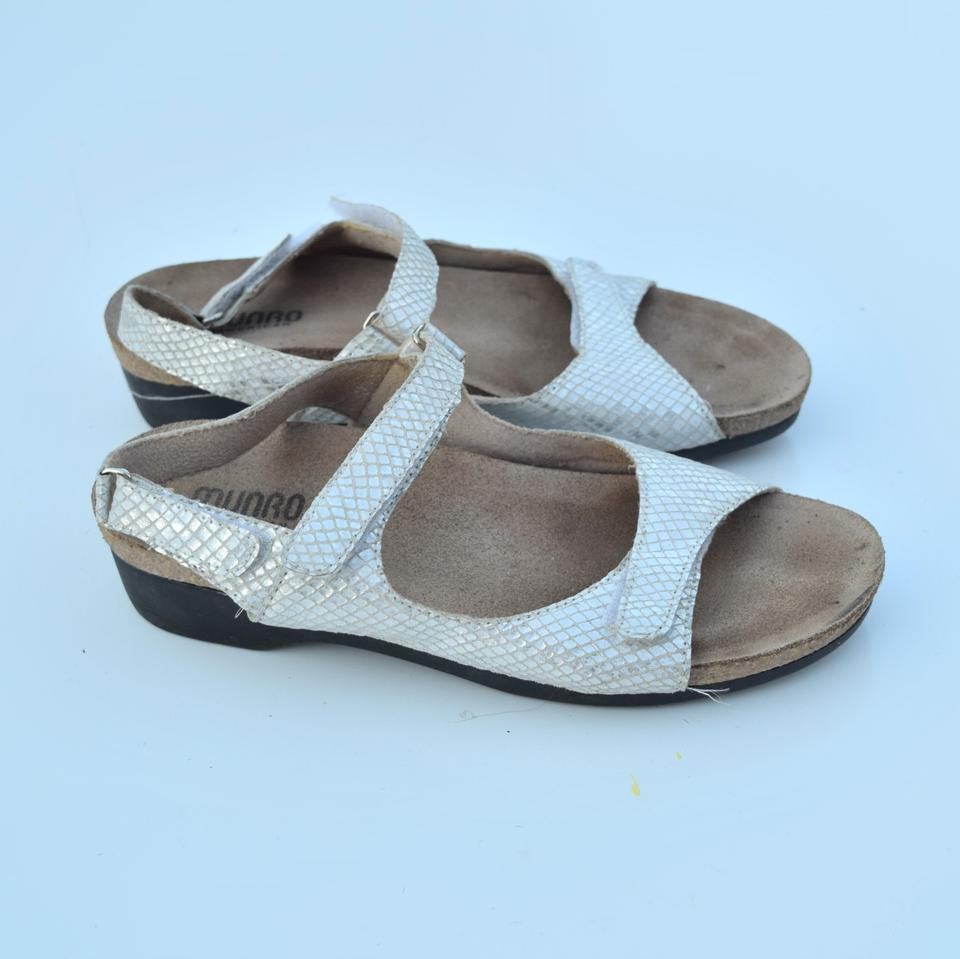 2ba85ed568 Munro American White Silver Low Wedge Sandals Size US 6 Regular (M, B) -  Tradesy