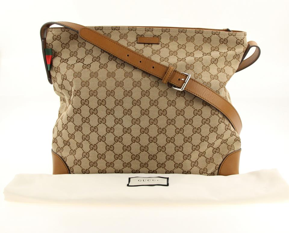 7c4a77fcc8c Gucci Large Beige Ebony Gg Canvas Brown Messenger Bag Image 11.  123456789101112