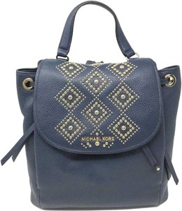 208f30851350 Michael Kors Backpack. Michael Kors New Women's Riley Large Studded Gold  Navy Leather Backpack