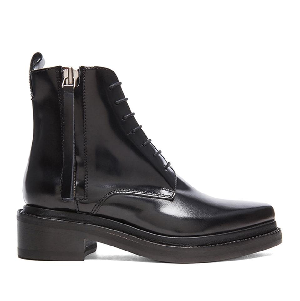 65d5a2b8 Acne Studios Black Linden Lace Up Pointy Combat Ankle Low Heel  Boots/Booties Size EU 37 (Approx. US 7) Regular (M, B)