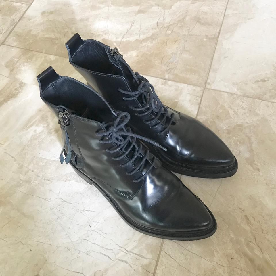 7a895cf779aa Acne Studios Black Linden Lace Up Pointy Combat Ankle Low Heel Boots Booties  Size EU 37 (Approx. US 7) Regular (M
