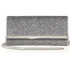 Jimmy Choo Evening Glitter Chain Leather Metallic Silver Clutch