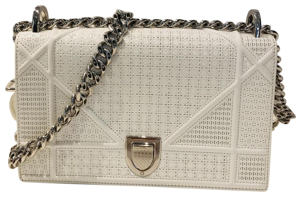 4fe41d0d6ebf Dior Perforated Micro-cannage Diorama White Leather Shoulder Bag ...