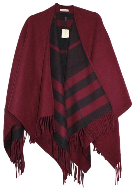 Item - Burgundy Red Black New Check Cashmere Wool Fringe Poncho/Cape Size OS (one size)