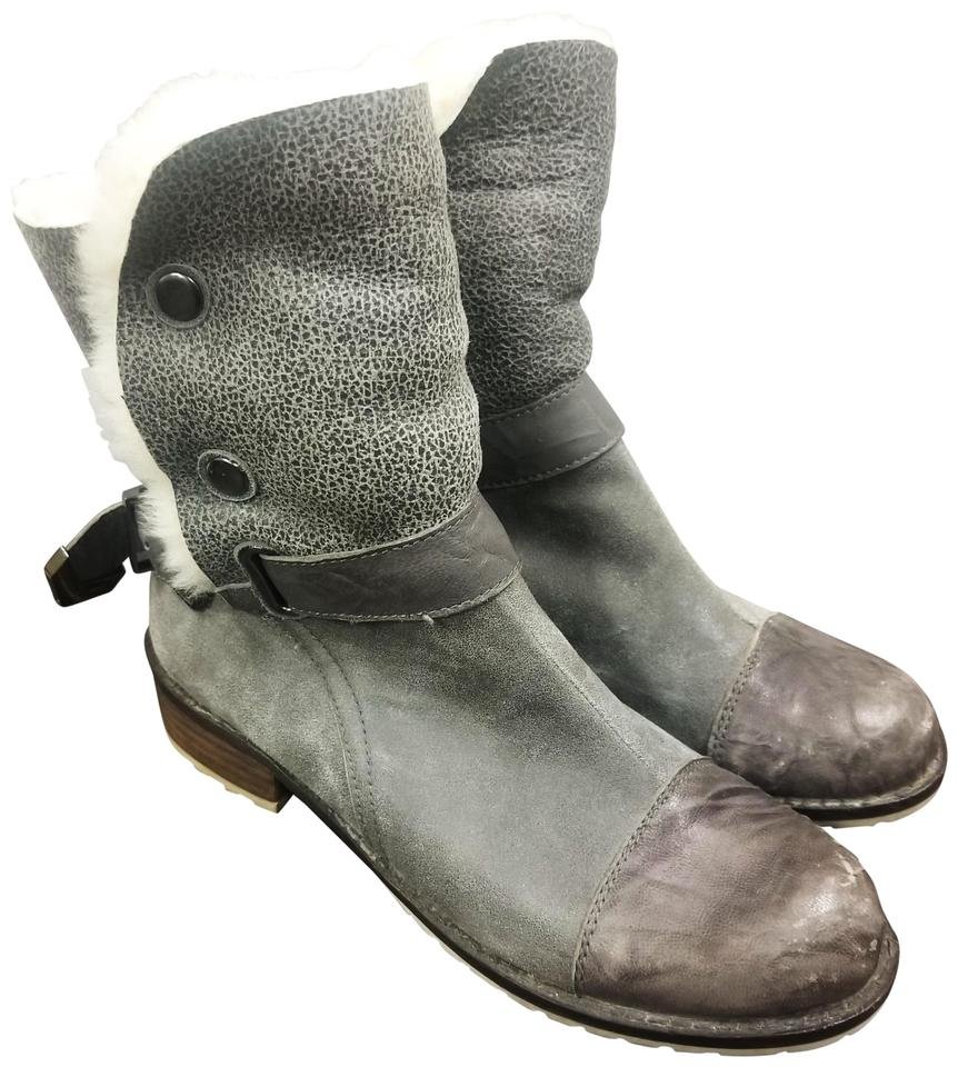 cea98047e02 Matt Bernson Grey Tundra Suede Shearling Lined Boots Booties Size US ...