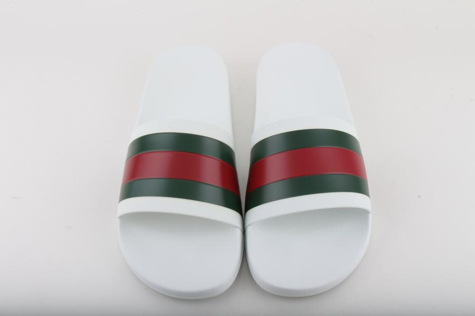 b3a2d86a6384 Gucci White Web Stripe Slides Sandals Size US 10 Regular (M