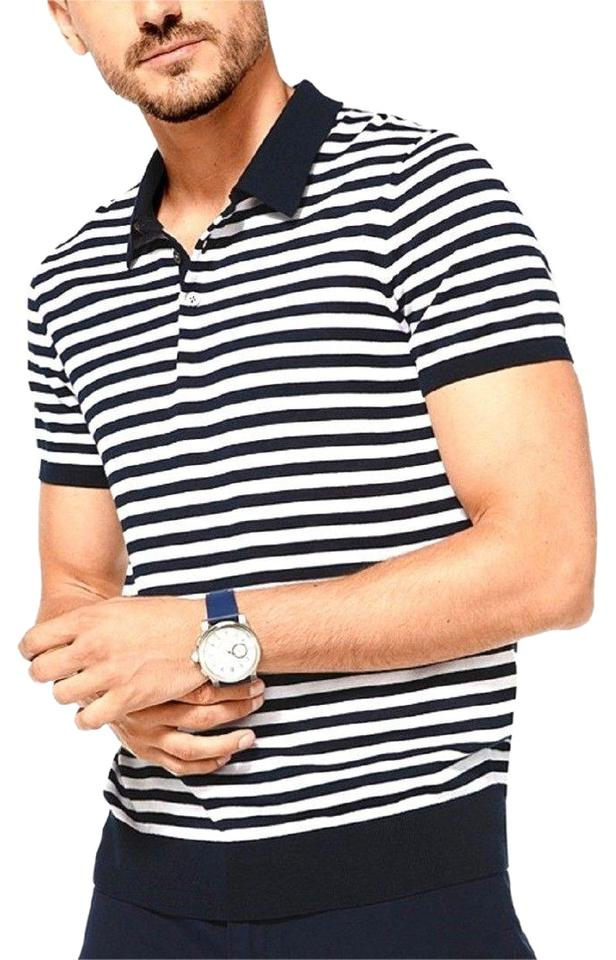 7c6a6638 Michael Kors Dark Blue Men's Silk Striped Sleeves Polo Tee Shirt ...