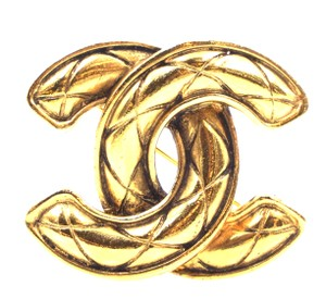 Chanel RARE CC medium large quilted gold hardware brooch pin charm