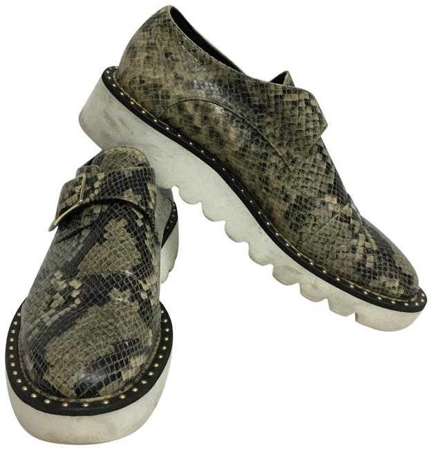 Item - Beige Faux Snakeskin Oxfords with Buckle Flats Size EU 38 (Approx. US 8) Regular (M, B)
