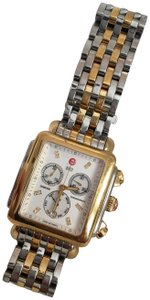 Michele Michele art deco diamond watch yellow gold and stainless two tone