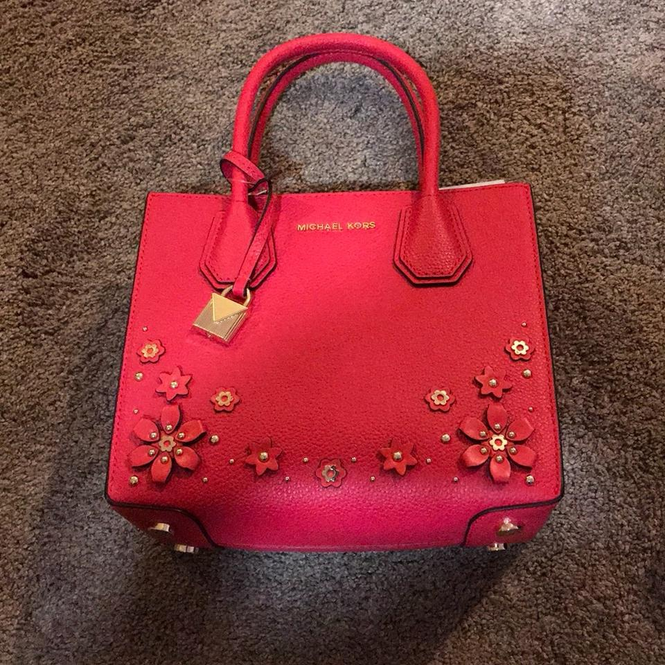 7cd69edb4d9e MICHAEL Michael Kors Mercer Floral Embellished Deep Pink Leather ...
