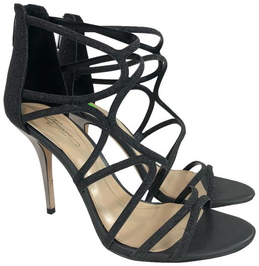 Imagine By Vince Camuto Black Glitter Strappy Heels Silver