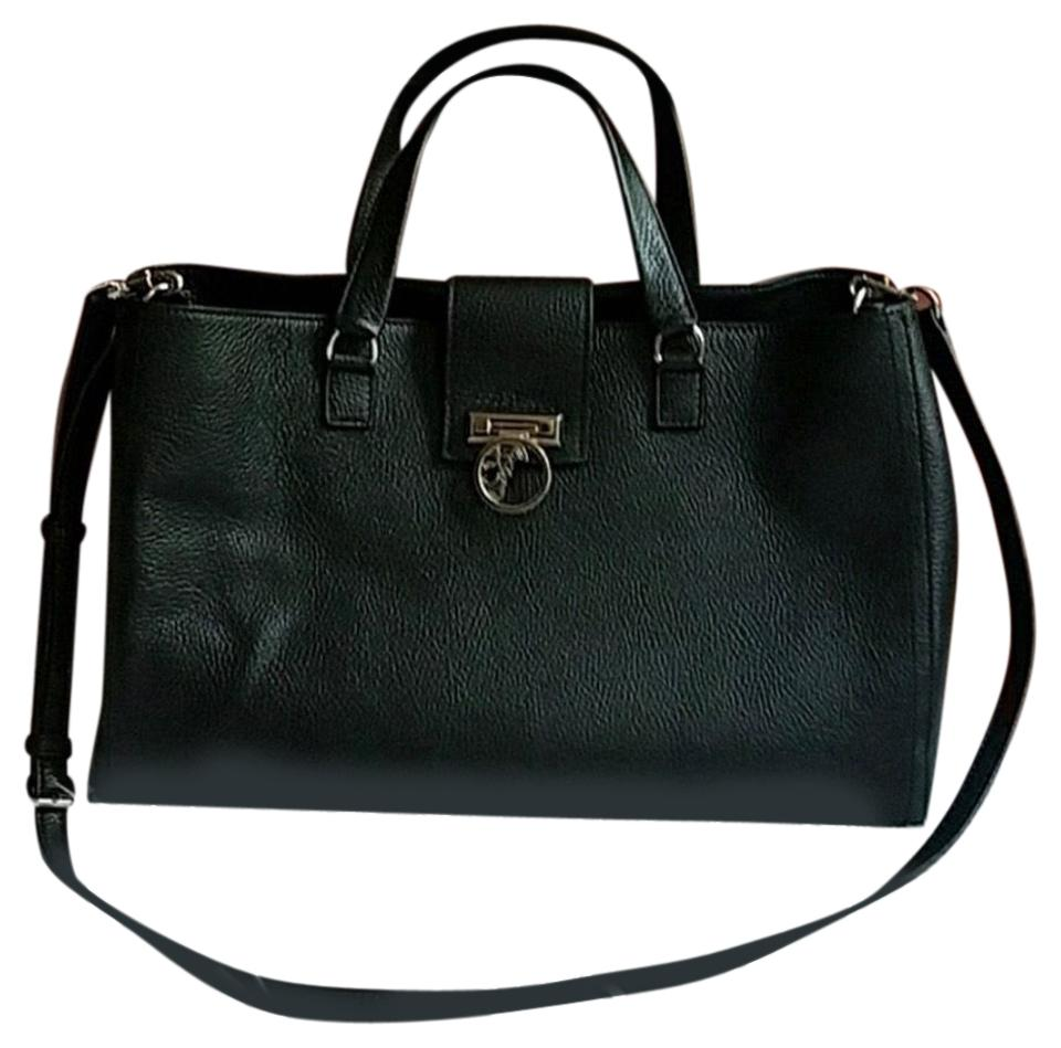 Versace Collection Pebbled Black Leather Satchel - Tradesy b6a00320a9c76