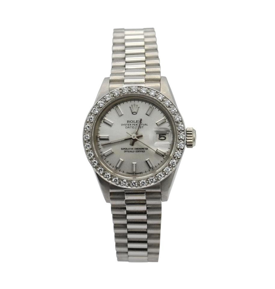 1db8a827b66 Rolex White Gold Oyster Perpetual Datejust 6917 Diamond Bezel Watch ...