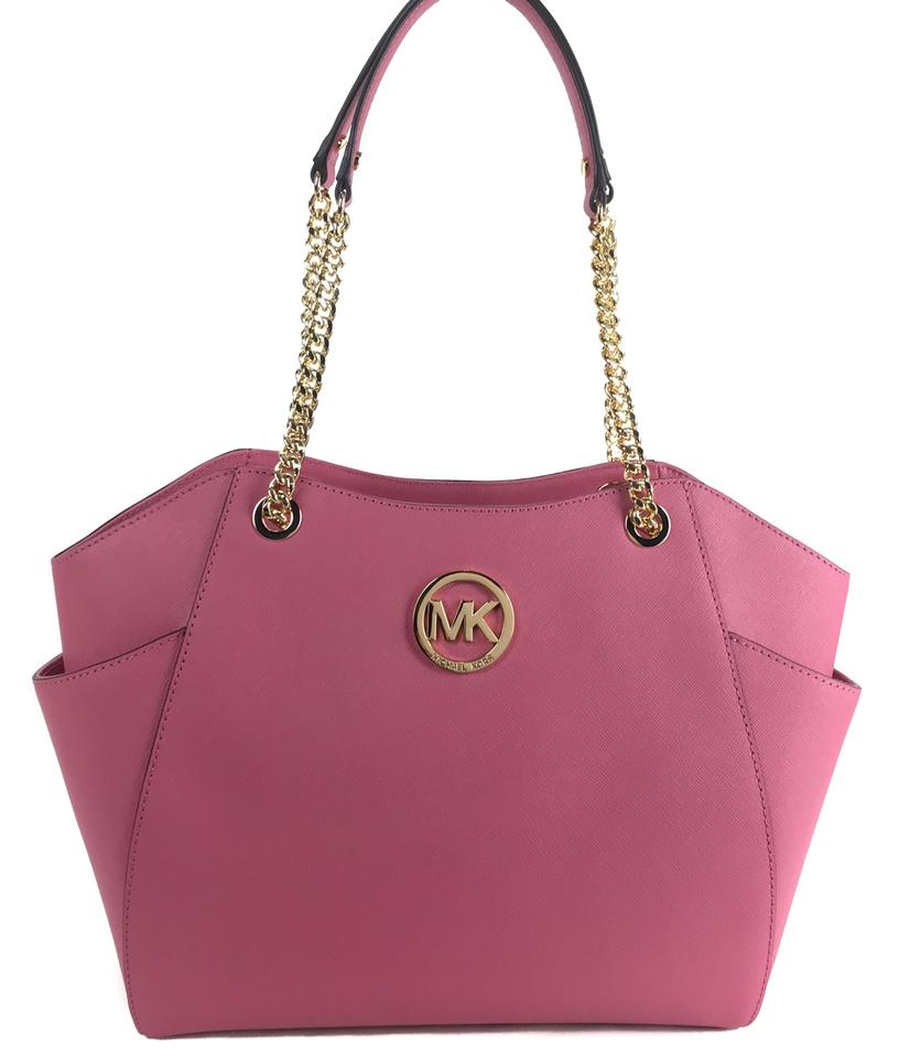 89481c796eed Michael Kors Jet Set Travel Large Chain Tote Pink Leather Shoulder ...