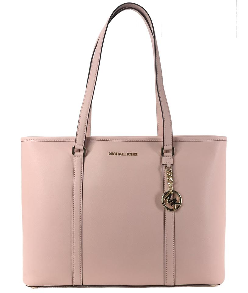 15132ff8d325 Michael Kors Sady Large Multifunctional Top Zip Pink Leather Tote ...